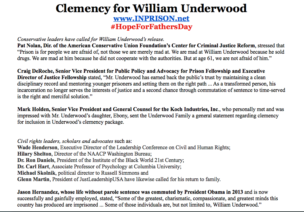 A GROUNDSWELL OF SUPPORT for WILLIAM UNDERWOOD's CLEMENCY